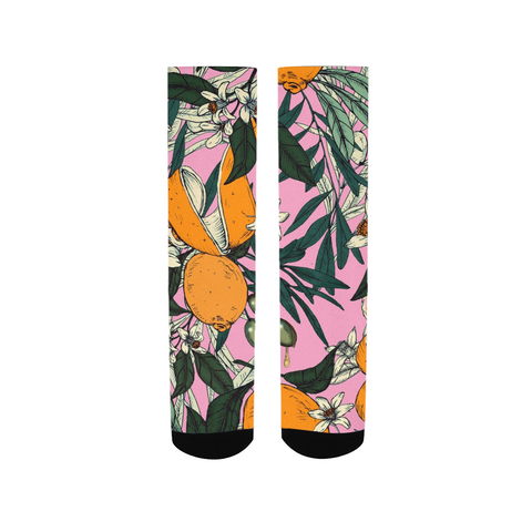 Olives among the orange flowers pink Women's Socks