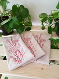 Red Work Embroidered Muslin Towels