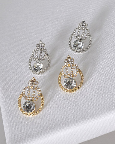 Crystal and Stone Studded Tear Drop Shaped Earrings
