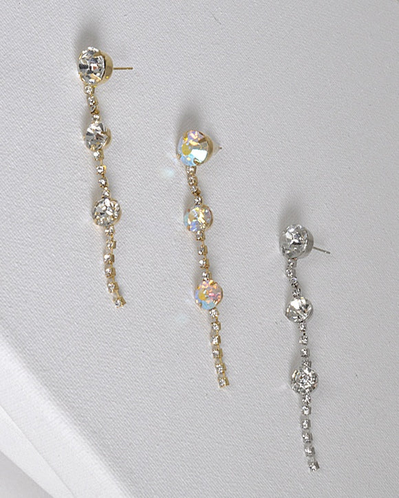 Rhinestone and Crystal Embellished Drop Earrings with Post Back Closure