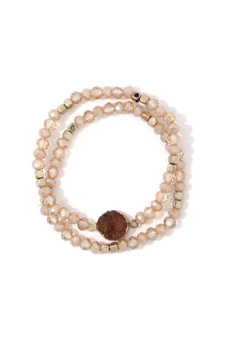 Faux Druzy Stone Beaded Stretch Bracelet