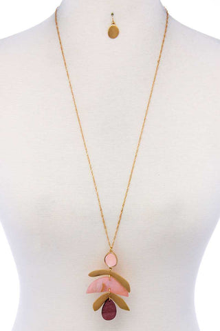 Modern Stylish Drop Pendant Necklace And Earring Set