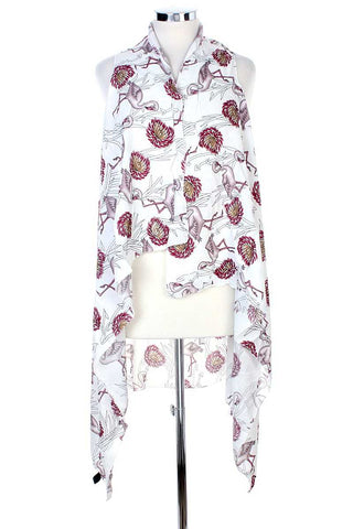Draped Flamingo Printed Vest