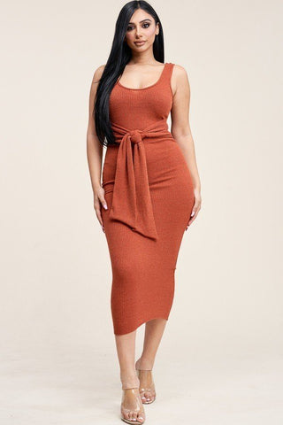 Embellished Rib Knit Sleeveless Midi Dress