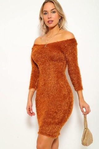 A Fun Fuzzy Knit Wrap Mini Dress