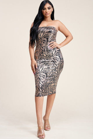 Metallic Trans Print Strapless Dress