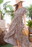 Leopard Over Wrap Waist Belted Maxi Dress