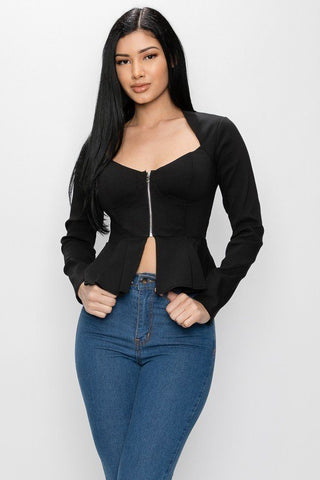 Long Sleeve Ruffle Zip-up Jacket