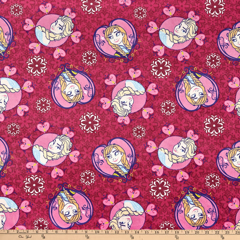 Disney Frozen Minky Velour Sisters Framed Toss Pink Fabric