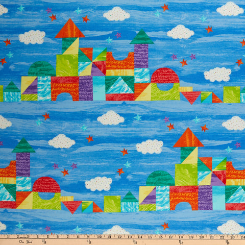 Andover The Very Hungry Caterpillar Bright Castle Stripe Light Blue Fabric