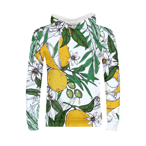 Olives flowers Pattern White Kids Hoodie