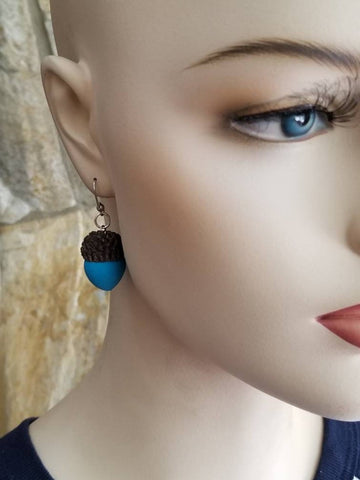 Blue Acorn Earrings