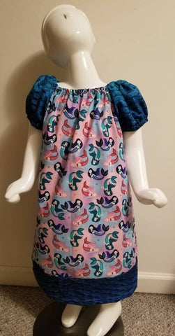 Mermaid Print Peasant Dress