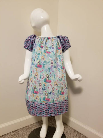 Mermaid Short Sleeve Peasant Dress