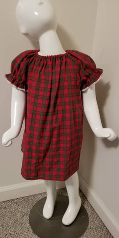 Christmas Color Plaid Peasent Dress 2T