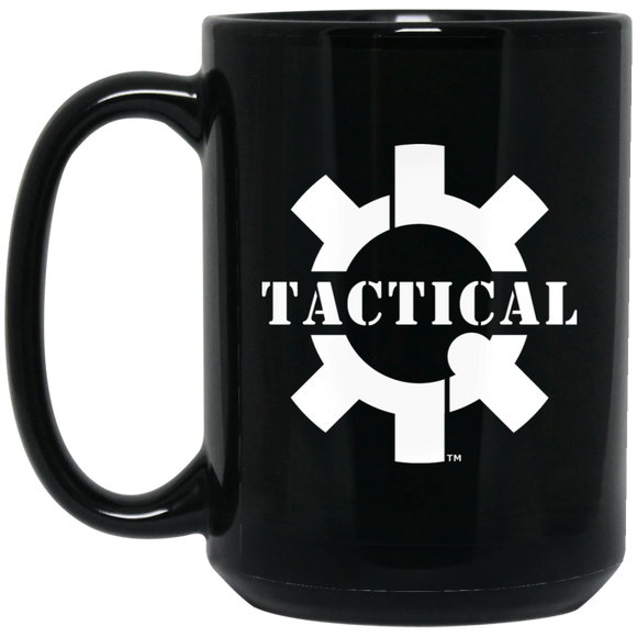Tactical Swagg White Logo Ceramic Black Coffee Cup/Mug, 15oz-Drinkware-CustomCat-Tactical Swagg