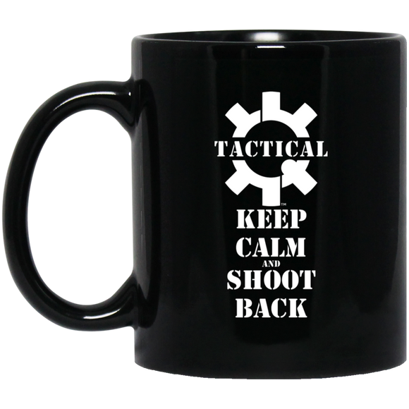 Tactical Keep Calm and Shoot Back Ceramic Black Coffee Cup/Mug, 11oz-Drinkware-CustomCat-Tactical Swagg
