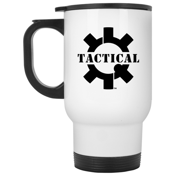 Tactical Swagg Black Logo White Stainless Steel Travel Mug, 14oz-Drinkware-CustomCat-Tactical Swagg