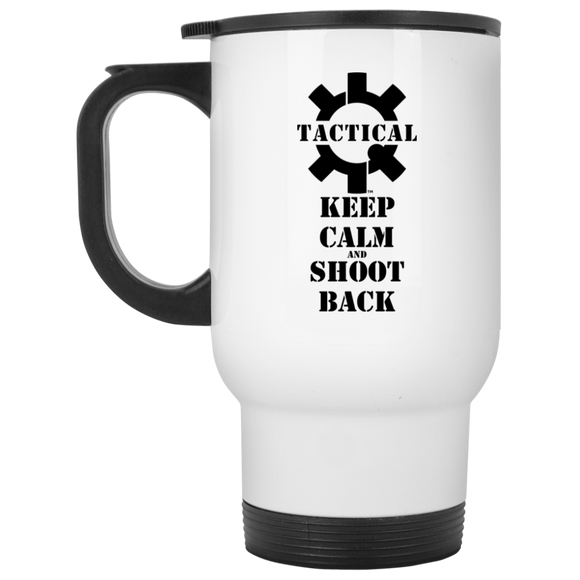 Tactical Keep Calm and Shoot Back Black Logo White Stainless Steel Travel Mug, 14oz-Drinkware-CustomCat-Tactical Swagg