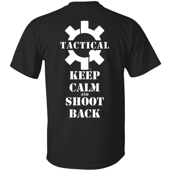 Tactical Keep Calm and Shoot Back Short Sleeve T-Shirt, White Print on Back-T-Shirts-CustomCat-Tactical Swagg