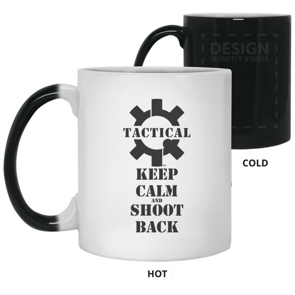 Tactical Keep Calm and Shoot Back Color Changing Coffee Cup/Mug, 11oz-Drinkware-CustomCat-Tactical Swagg