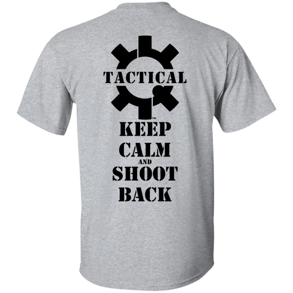 Tactical Keep Calm and Shoot Back Short Sleeve T-Shirt, Black Print on Back-T-Shirts-CustomCat-Tactical Swagg