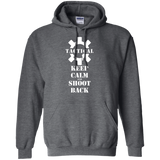 Tactical Keep Calm and Shoot Back Pullover Hoodie, White/Front-Sweatshirts-CustomCat-Tactical Swagg