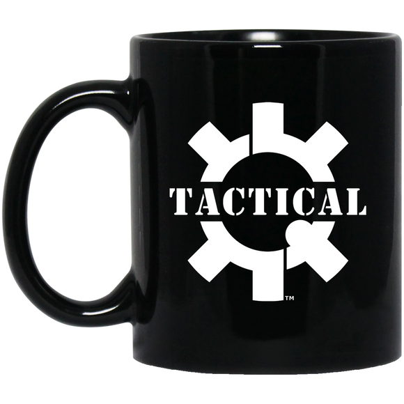 Tactical Swagg White Logo Ceramic Black Coffee Cup/Mug, 11oz-Drinkware-CustomCat-Tactical Swagg