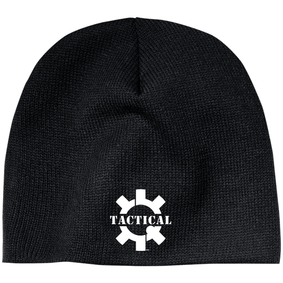 Tactical Swagg Embroidery Logo Beanie Hat, White on Dark Colors-Hats-CustomCat-Tactical Swagg