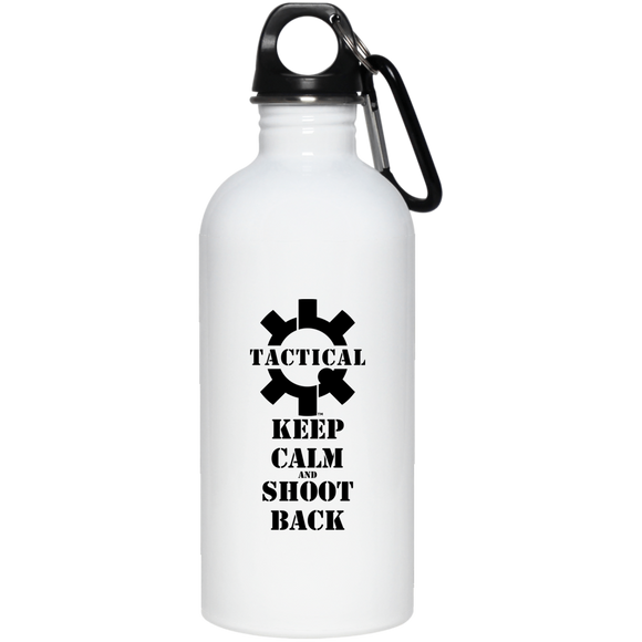 Tactical Keep Calm and Shoot Back Black Logo 20 oz. Stainless Steel Water Bottle-Drinkware-CustomCat-Tactical Swagg