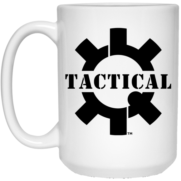 Tactical Swagg Black Logo Ceramic White Coffee Cup/Mug, 15oz-Drinkware-CustomCat-Tactical Swagg