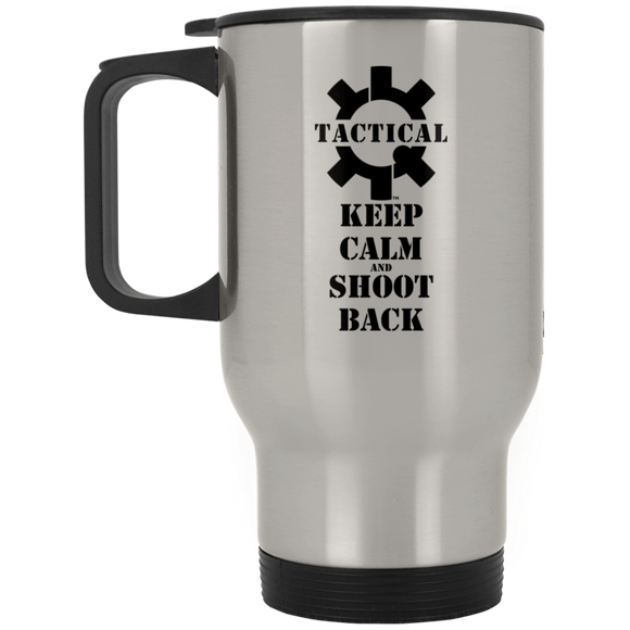 Tactical Keep Calm and Shoot Back Black Logo Silver Stainless Travel Mug, 14oz-Drinkware-CustomCat-Tactical Swagg