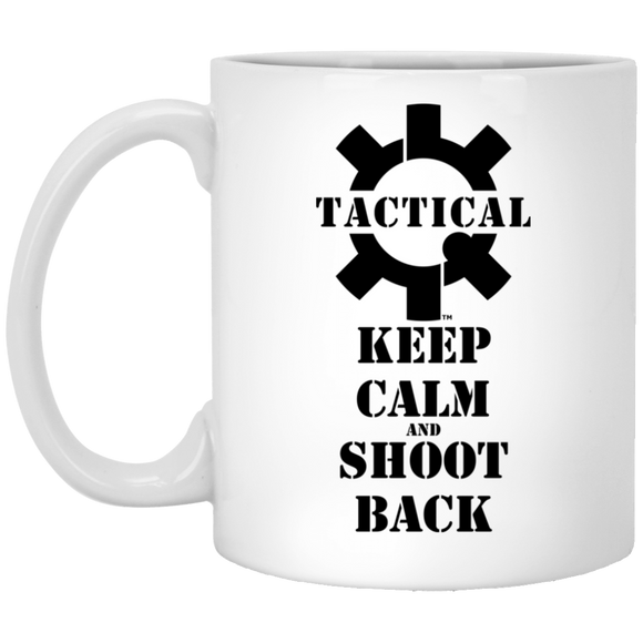 Tactical Keep Calm and Shoot Back Black Logo Ceramic White Coffee Cup/Mug, 11oz-Drinkware-CustomCat-Tactical Swagg
