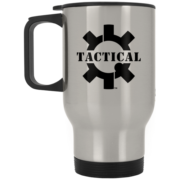 Tactical Swagg Black Logo Silver Stainless Travel Mug, 14oz-Drinkware-CustomCat-Tactical Swagg