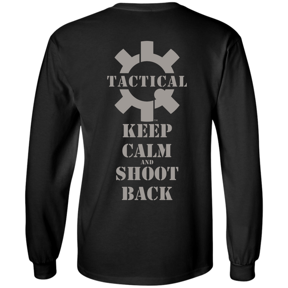 Tactical Keep Calm and Shoot Back Long Sleeve T-Shirt, UDE Print on Back-T-Shirts-CustomCat-Tactical Swagg