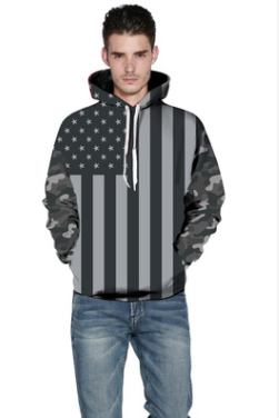 Black & White American Flag Hooded Sweater - Ommicron Swiss
