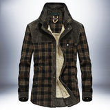 Men's Plus Velvet Long-Sleeved Plaid Bomber Jacket - Ommicron Swiss