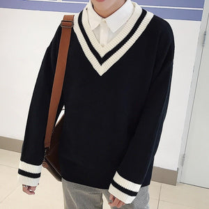 V-neck Striped Sweater - Ommicron Swiss