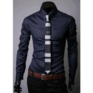 Fitted Shirts For Men Designer Plaid Stripes Pattern