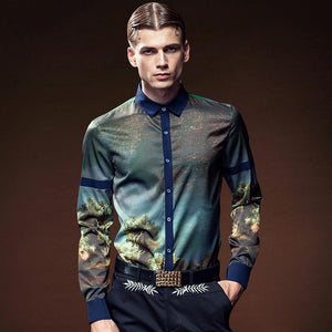 Mens Shirts Fashion Long Sleeve Print Floral Shirt