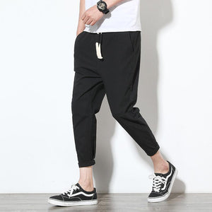 Cotton Black Men's Harem Pants - Ommicron Swiss