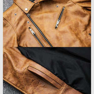 Vintage Genuine Leather Jacket - Cow Leather Coat - Ommicron Swiss