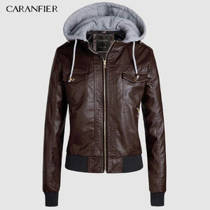 Hooded Leather Zipper Jacket