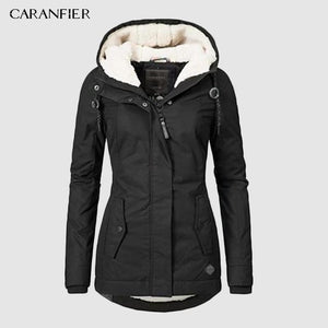 CARANFIER Black Cotton Coats Women Casual Hooded Jacket Coat Fashion Simple High Street Slim Winter Warm Thicken Tops Female - Ommicron Swiss