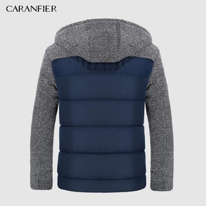 Men Casual Outwear Lamb Hooded Thicken Parkas- Patchwork Design