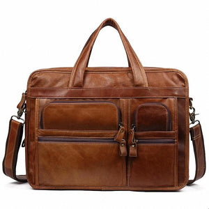 Leather Briefcase Laptop Bag