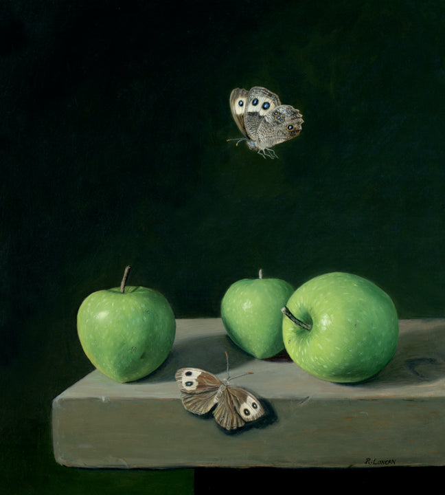 "Rebecca Luncan - ""Wood Nymphs and Green Apples"" oil on Copper , 10"" x 9"""