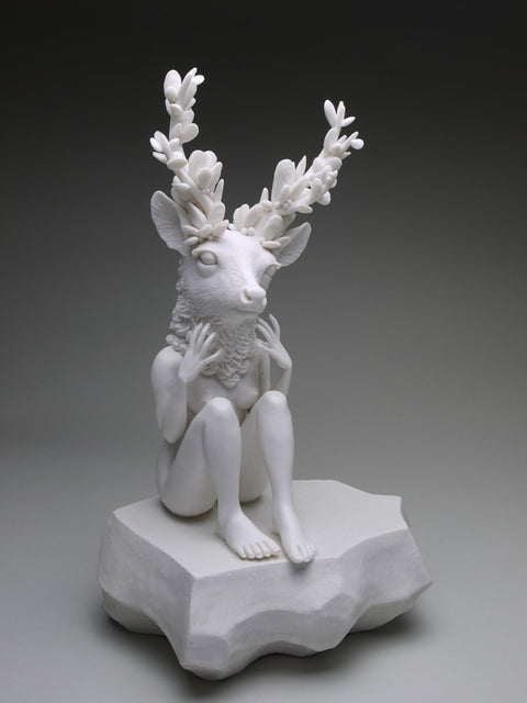 "Crystal Morey - ""Delicate Dependency: New Growth"" (Anthropomorphic mule deer with crustacean growth from pacific coastal regions)"