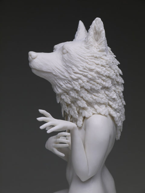 "Crystal Morey - ""Delicate Dependency: Search for a New Way"" (Anthropomorphic gray wolf with live oak growth from pacific coastal regions)"