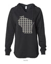 Plaid Wisconsin - Women's Lightweight California Wavewash Hooded Pullover Sweatshirt